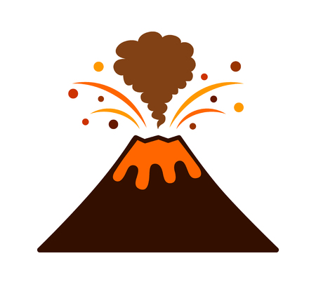 Volcano eruption with lava and smoke flat color vector icon for apps and websites
