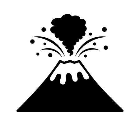 Volcano eruption with lava and smoke flat vector icon for apps and websites Illustration