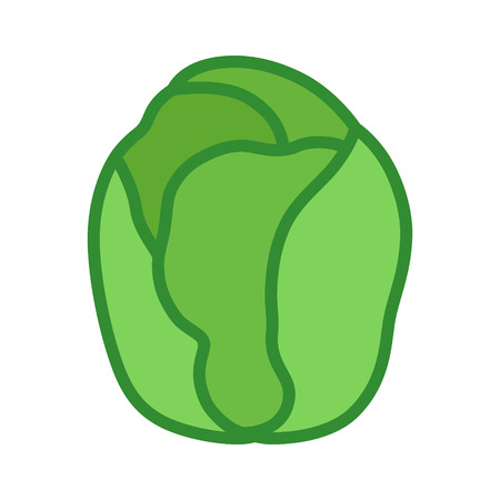 Brussels sprouts vegetable buds flat vector color icon for food apps and websites Çizim