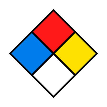 NFPA 704 - Sistema standard per l'identificazione dei pericoli dei materiali per la risposta alle emergenze, diamante bianco incendio o modello di segno quadrato di sicurezza Vettoriali