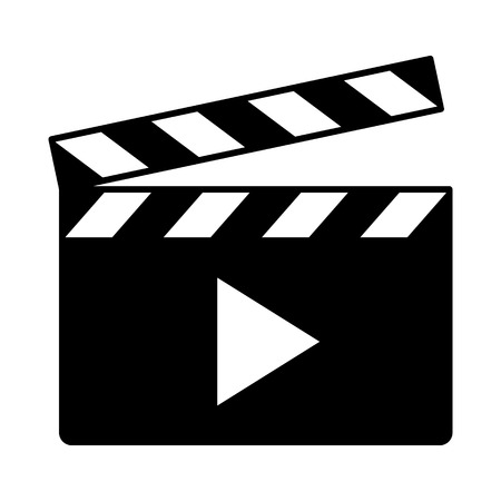 Movie clapperboard or film clapboard with play arrow flat vector icon for video apps and websites