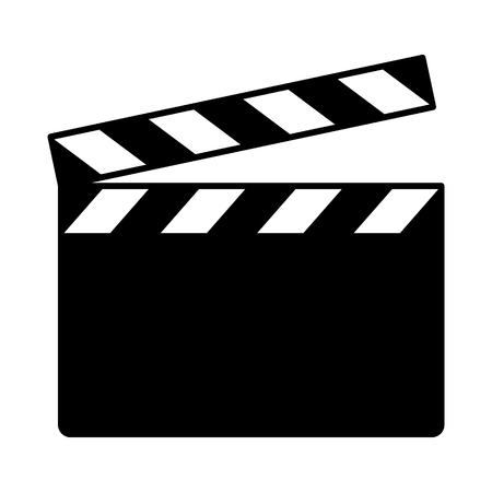 Movie clapperboard or film clapboard flat vector icon for video apps and websites Çizim