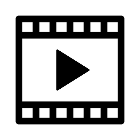 Movie directing, video media or film production line art vector icon for multimedia apps and websites