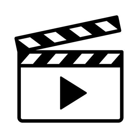 Ciak di film o assicella di film con icona di vettore di linea di freccia di riproduzione per app video e siti Web