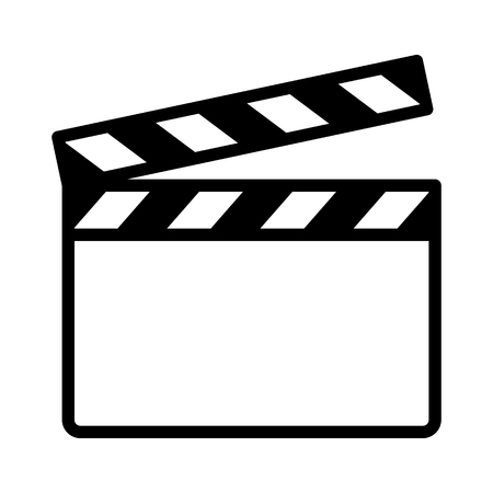 Movie clapperboard or film clapboard line art vector icon for video apps and websites  イラスト・ベクター素材
