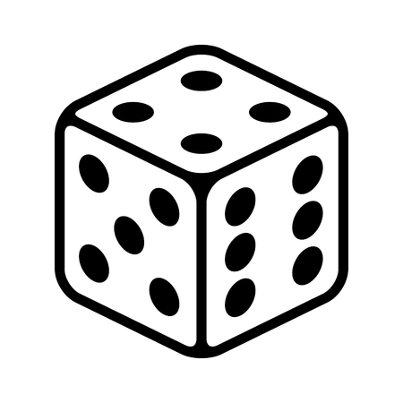 Six sided dice  die for casino gambling line art vector icon for apps and websites Ilustração