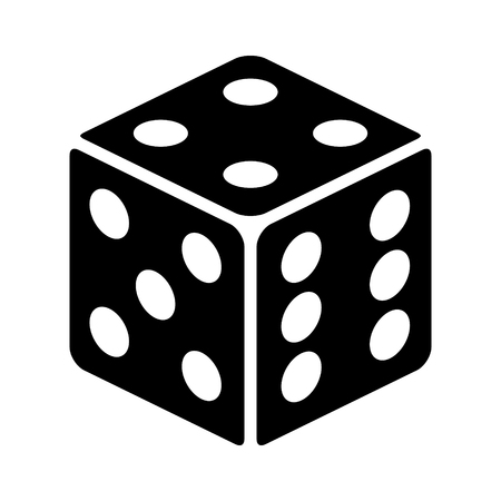 Six sided dice / die for casino gambling flat vector icon for apps and websites