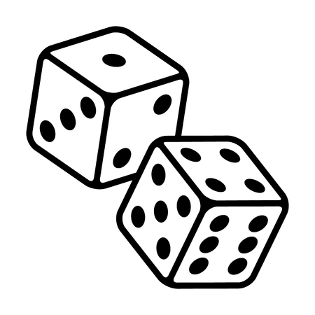 Coppia di dadi per giocare o giocare d'azzardo nell'icona di vettore di arte di craps line per app e siti Web di casinò