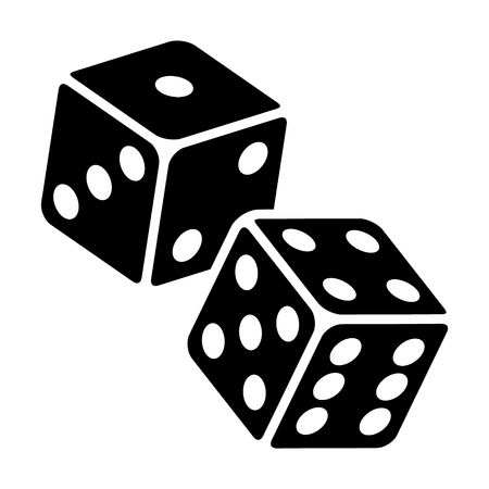 Two dice to gamble or gambling in craps flat vector icon for casino apps and websites