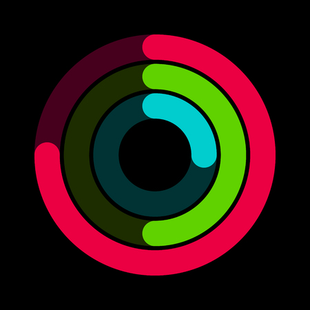 Circular red, green and blue activity ring flat vector icon for watch apps and websites Çizim
