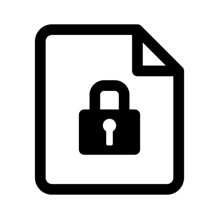 Secured document or locked not flat vector icon for apps and websites