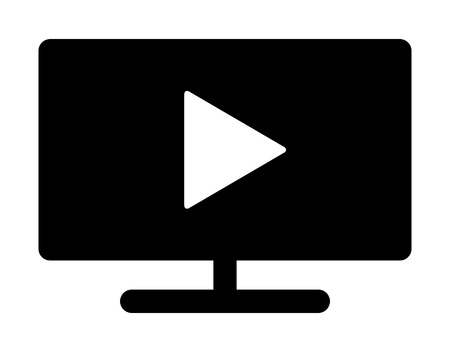 Play video on TV screen monitor flat vector icon for media apps and websites
