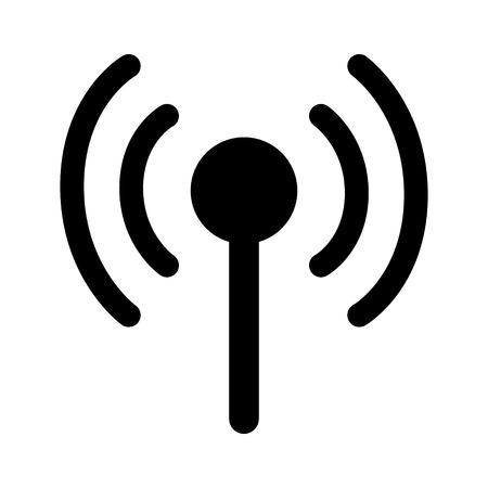 Wireless cellular / cell signal or radio network antenna line art icon for apps and websites