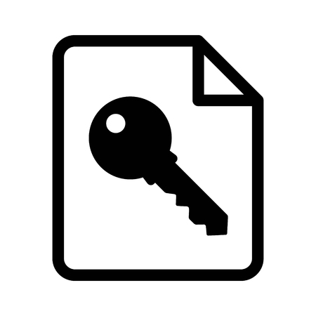 Document key or private encryption key for file line art icon for apps and websites
