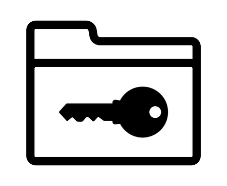 Document file folder with access key to unlock line art vector icon for apps and websites Illustration