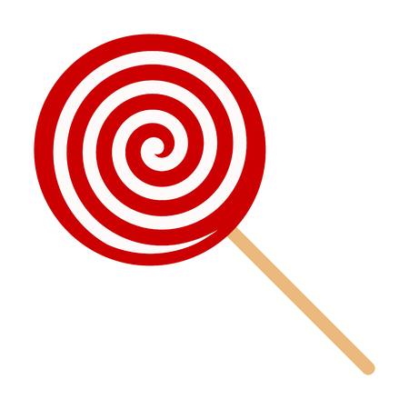 Red swirl Lollipop sucker or lolly candy flat vector icon for apps and websites Ilustrace