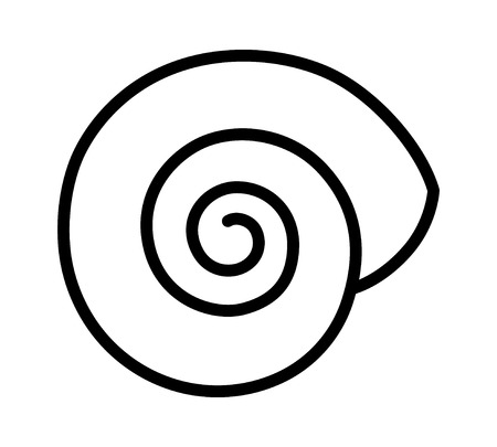 Empty land snail shell or gastropod shell line art vector icon for wildlife apps and websites Illustration
