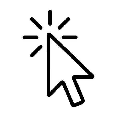 Mouse pointer arrow clicked or cursor click line art icon for apps and websites Stock Illustratie