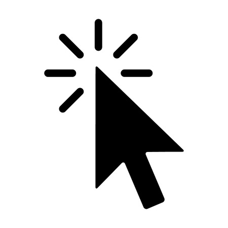 Mouse pointer arrow clicked or cursor click flat icon for apps and websites