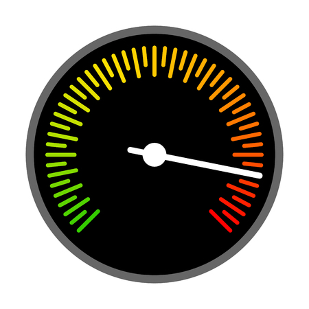 Round barometer or speed gauge indicator flat vector color icon for apps and websites Çizim