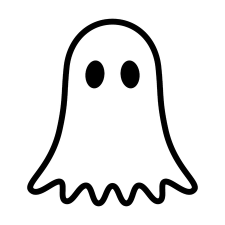 Ghost, phantom or apparition haunting Halloween line art vector icon for holiday apps and websites