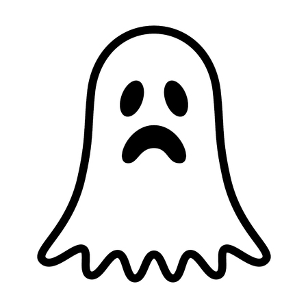 Sad ghost, phantom or apparition haunting Halloween line art vector icon for holiday apps and websites