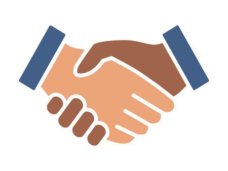 Schwarzweiss-Handschlag oder Händeschütteln im flachen Vektorfarbsymbol der Einheit und des Friedens für Apps und Websites