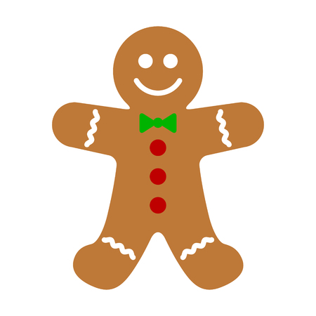 Gingerbread man holiday biscuit or cookie flat color vector icon for food apps and websites Illustration