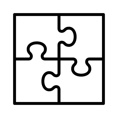 Square four pieces of jigsaw puzzle or teamwork concept flat vector icon for apps and websites  イラスト・ベクター素材