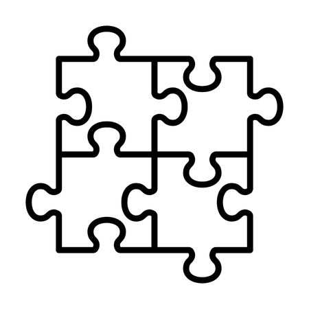 Four pieces of jigsaw puzzle or teamwork concept line art vector icon for apps and websites