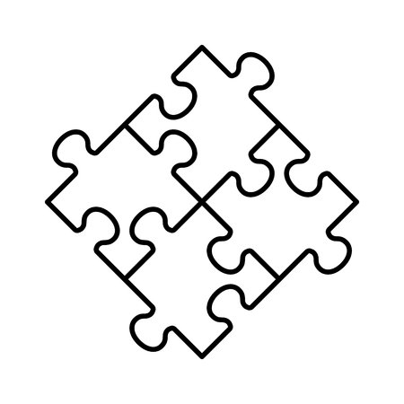 Rotated four pieces of jigsaw puzzle or teamwork concept line art vector icon for apps and websites