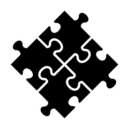 Rotated four pieces of jigsaw puzzle or teamwork concept flat vector icon for apps and websites
