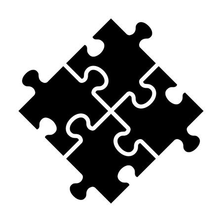 Rotation de quatre pièces de puzzle ou icône de vecteur plat concept de travail d'équipe pour les applications et les sites Web
