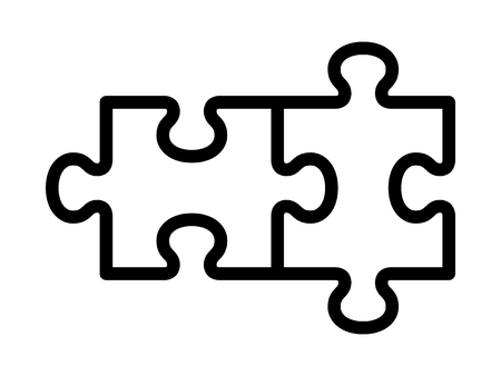 Two pieces of jigsaw puzzle or autism puzzle piece symbol line art vector icon for apps and websites
