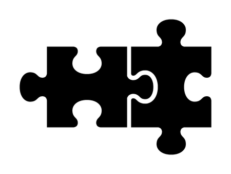 Two pieces of jigsaw puzzle or autism puzzle piece symbol flat vector icon for apps and websites