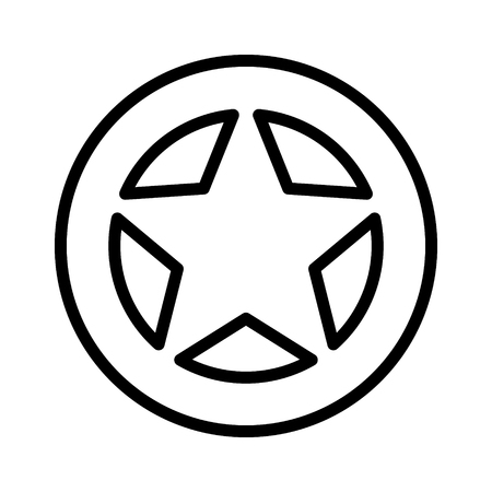 Sheriff or Texas Ranger wild west circular star in a wheel badge line art vector icon for games and websites