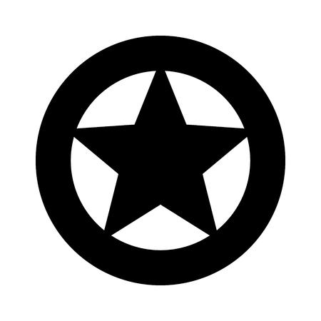 Sheriff o Texas Ranger estrella circular del salvaje oeste en un icono de vector plano de insignia de rueda para juegos y sitios web