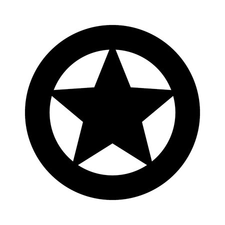 Sheriff or Texas Ranger wild west circular star in a wheel badge flat vector icon for games and websites Illustration