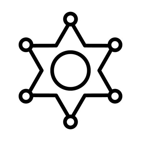 Icône de vecteur d'art de ligne d'insigne de ranger de shérif étoile de l'Ouest à six branches pour les jeux et les sites Web