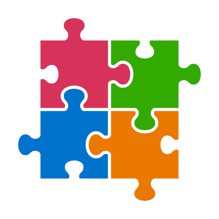 Four pieces of jigsaw puzzle or teamwork concept flat vector color icon for apps and websites