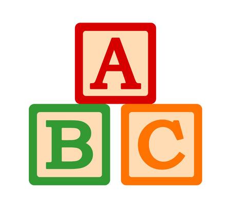 ABC / ABCs zabawki klocki lub kostki z literami do nauki przedszkolnej płaskiej wektorowej ikony kolorów dla aplikacji i stron internetowych