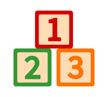 123 / 123s blocchi o cubi giocattolo con numeri per l'apprendimento prescolare icona di colore piatto vettoriale per app e siti Web