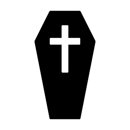 Coffin for the dead or casket with cross flat vector icon for games and websites Vektoros illusztráció