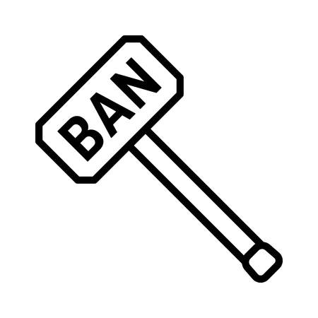 Ban hammer or banhammer to block users line art vector icon for apps and websites Illustration