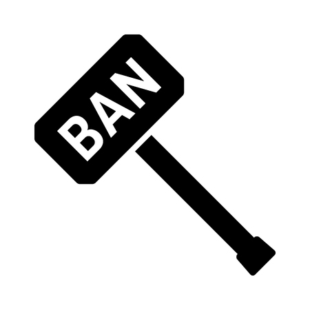 Ban hammer or banhammer to block users flat vector icon for apps and websites