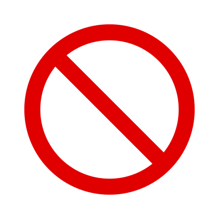 Red ban / banned or restriction sign flat vector icon for print and websites