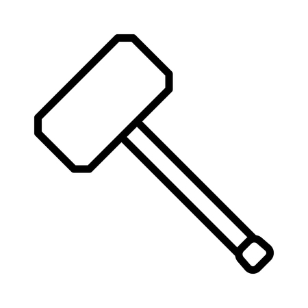 Hammer or mallet for mauling line art vector icon for apps and websites Stockfoto - 105297941