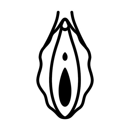 Human vagina, vaginal opening or female reproductive organ line art vector icon for apps and websites