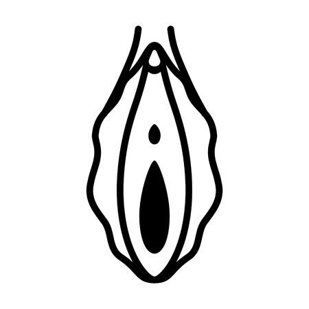 Menselijke vagina, vaginale opening of vrouwelijk voortplantingsorgaan lijntekeningen vector pictogram voor apps en websites Vector Illustratie