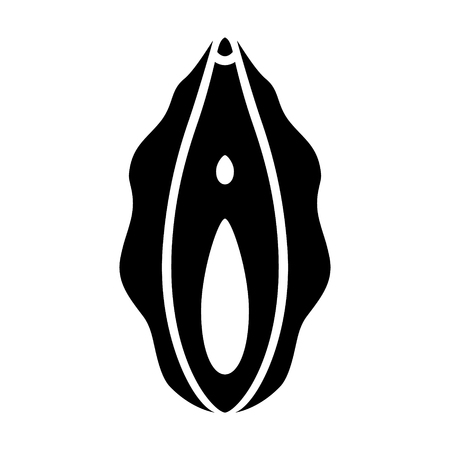 Human vagina, vaginal opening or female reproductive sex organ flat vector icon for apps and websites